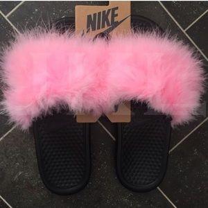 c0520da45a3 Nike Shoes - Pink Nike Fur Slides